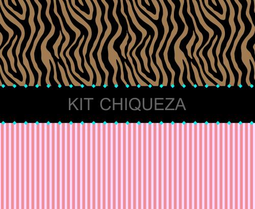 Kit Digital Luxo Chique Zebra Onça e Listra