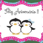 Painel de aniversário casal de Pinguim PNG