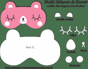 Molde Máscara de Dormir Gatinha Rosa - Molde para EVA - Feltro - e Artesanato