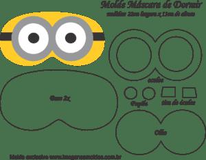Molde Máscara de Dormir Minions 2 Olhos - Molde para - EVA Feltro e Artesanato