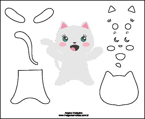 Molde de Gato Para EVA-Feltro e Artesanatos 4