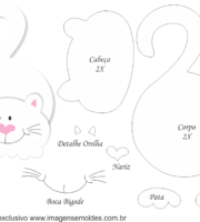 Molde de Gato Porta Maçaneta para EVA - Feltro e Artesanato3