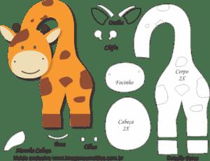 Molde de Girafa Porta Maçaneta para EVA - Feltro e Artesanato