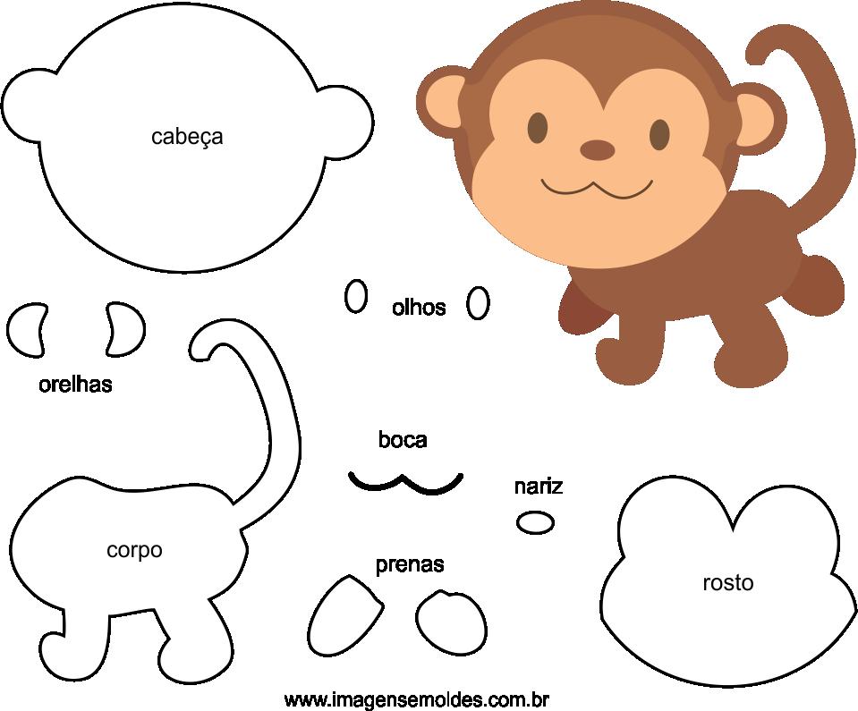 Molde de Macaco para EVA Feltro e Artesanato 1