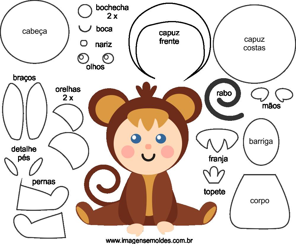 Molde de Macaco para EVA Feltro e Artesanato 5