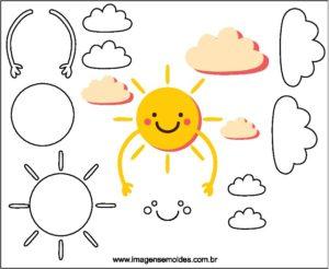 Molde De Nuvem E Sol Para Feltro Eva E Artesanato 1