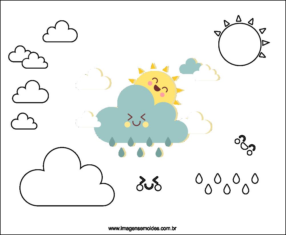 Molde De Nuvem E Sol Para Feltro Eva E Artesanato 3