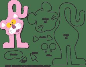 Molde de Pantera Cor de Rosa Porta Maçaneta para EVA - Feltro e Artesanato