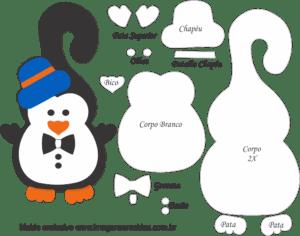 Molde de Pinguim Gravata Porta Maçaneta para EVA - Feltro e Artesanato