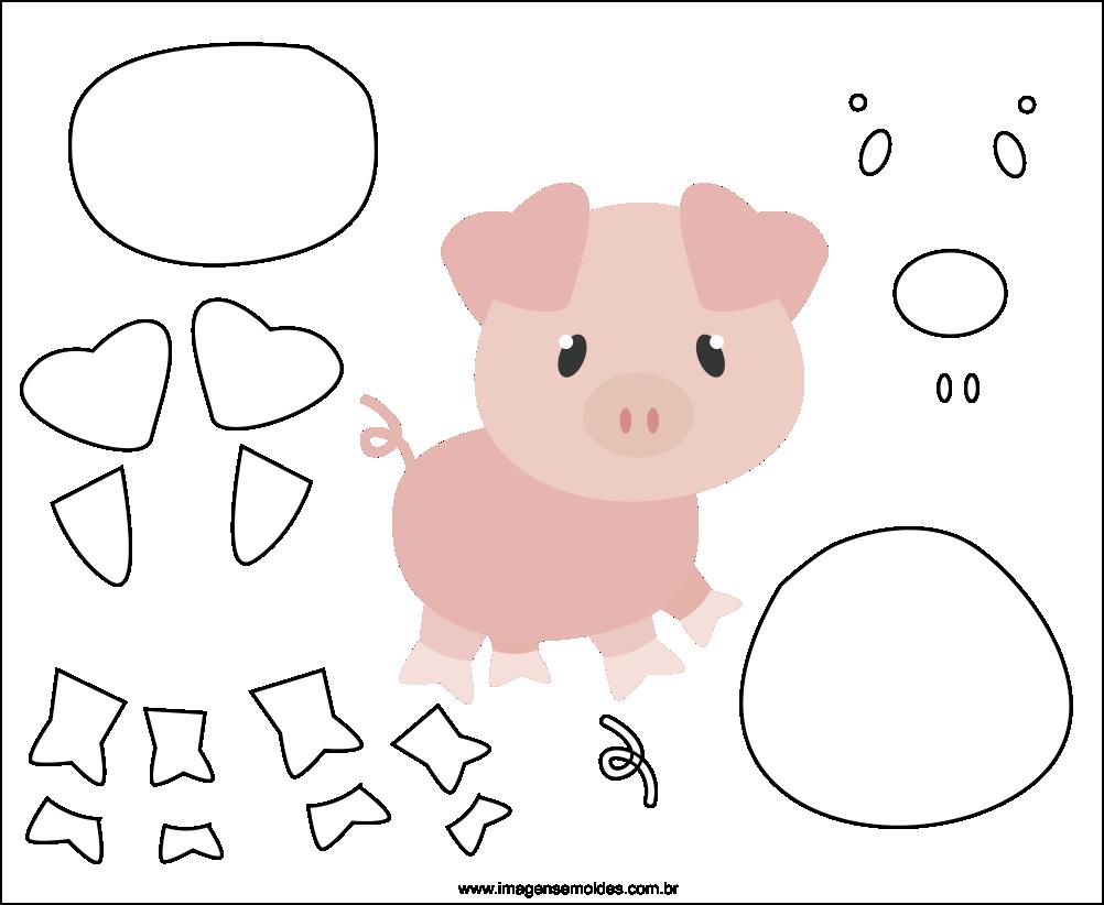 Molde de Porco para EVA Feltro e Artesanato 3