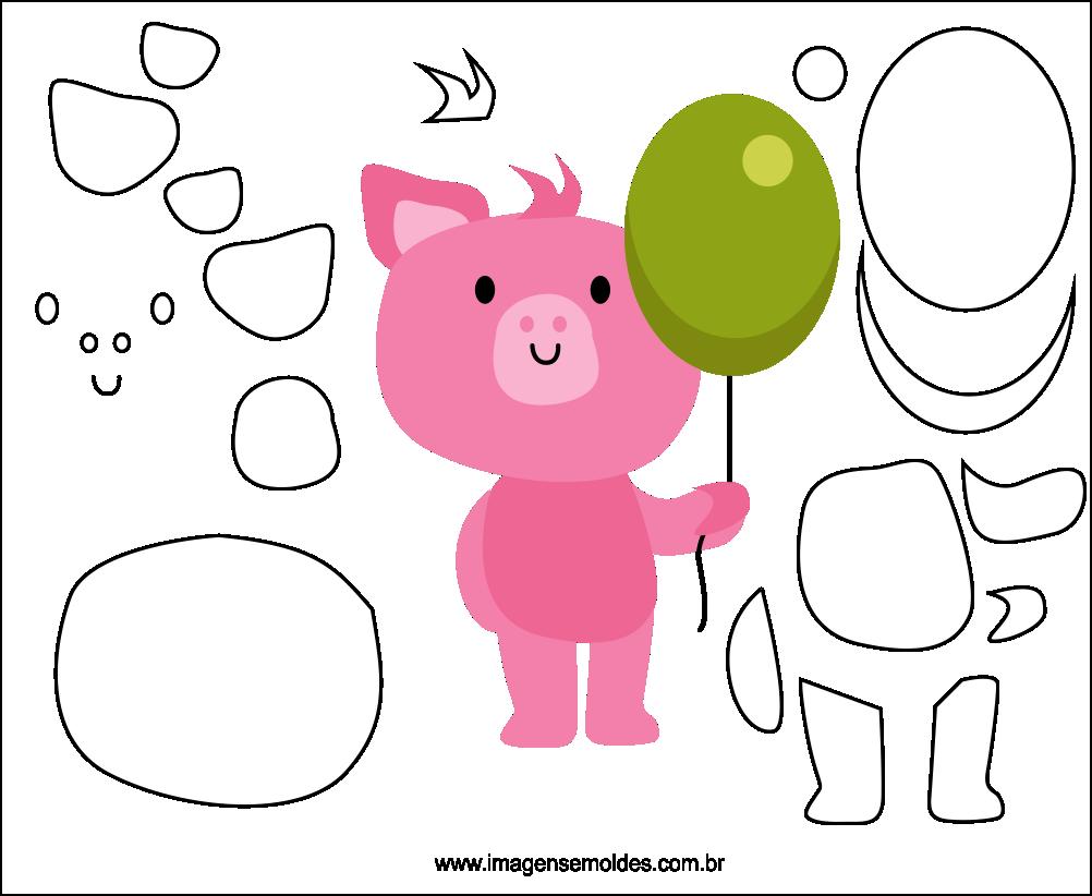 Molde de Porco para EVA Feltro e Artesanato 4