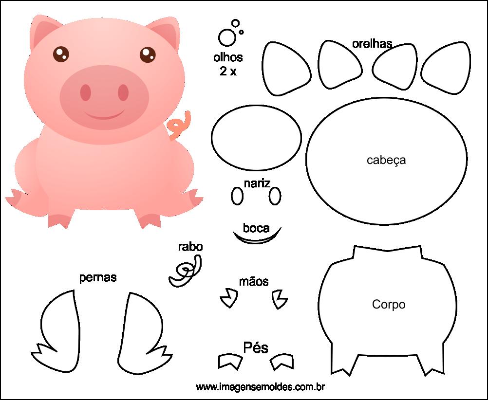 Molde de Porco para EVA Feltro e Artesanato 5