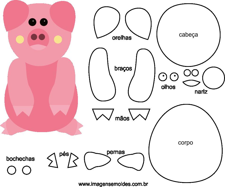 Molde de Porco para EVA Feltro e Artesanato 6