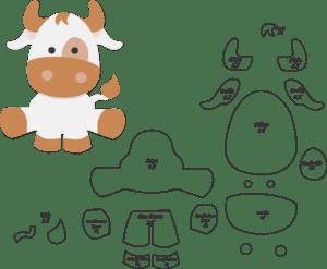 Molde de Vaca para EVA - Feltro e Artesanato
