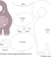 Molde de hipopotamo Porta Maçaneta para EVA - Feltro e Artesanato