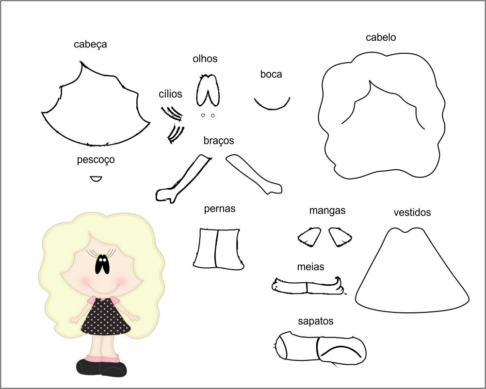 molde de criança menina para Eva-Feltro e artesanatos 5