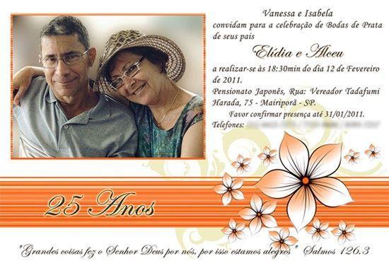 convite para bodas de prata