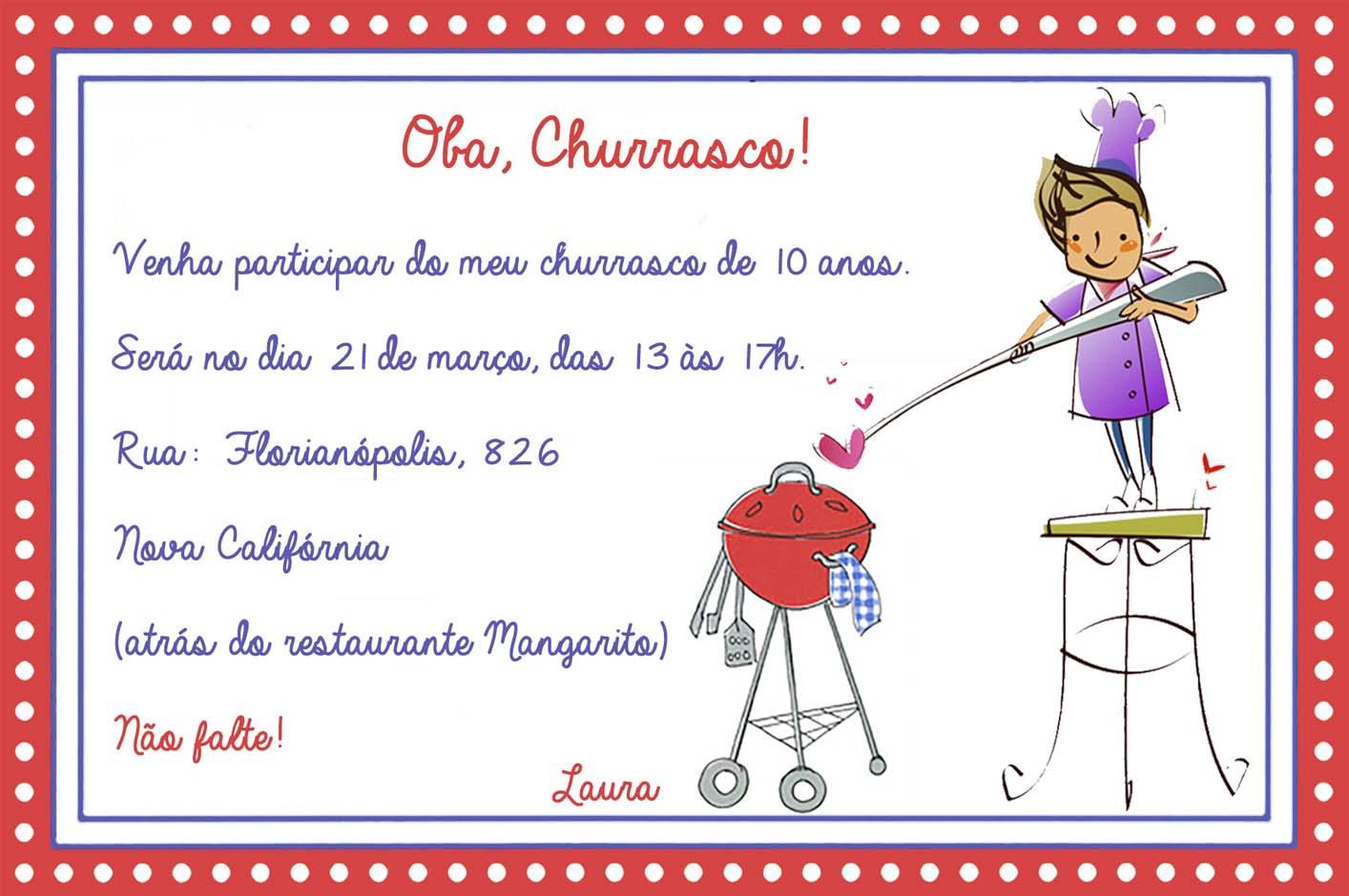Modelos De Convites Para Churrasco