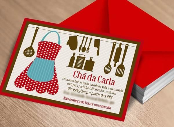 convite para chá de cozinha