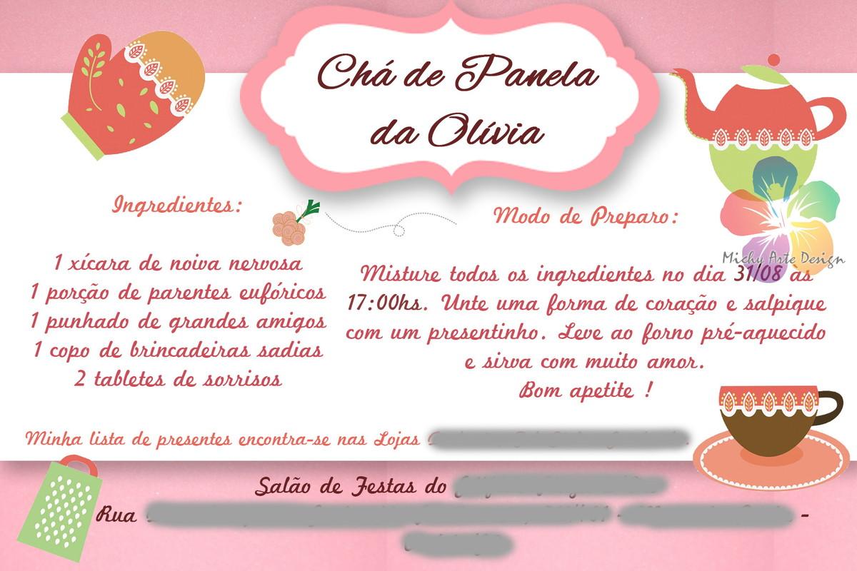Modelos De Convites De Ch De Panela