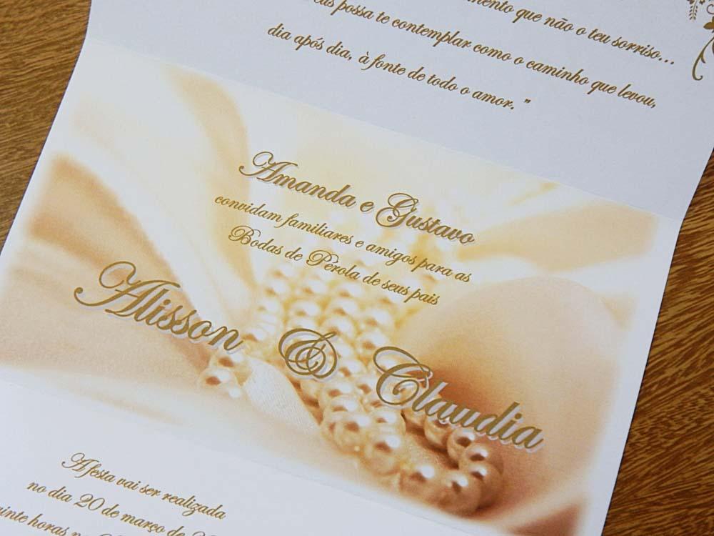 convite para bodas de pérola