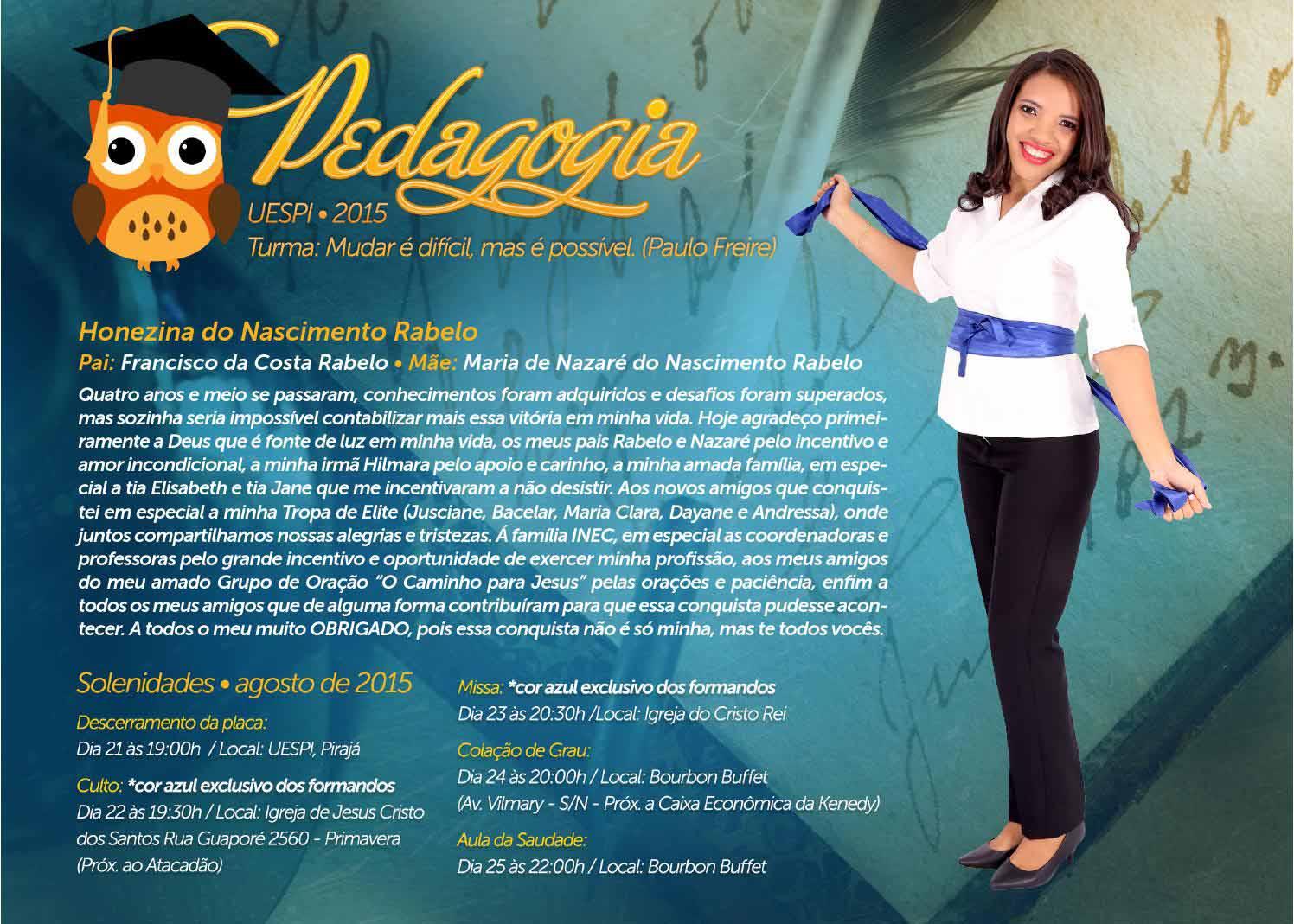 convite para formatura de pedagogia