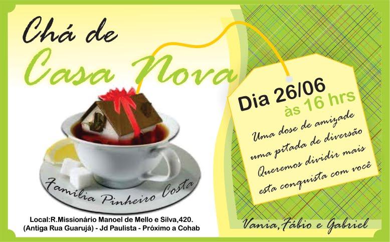 convite para chá de casa nova
