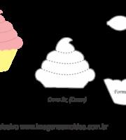 Molde Doces -Cupcake Laço - Molde para EVA - Feltro e Artesanato