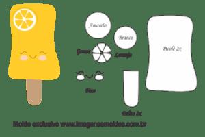 Molde Doces -Picolé Laranja - Molde para EVA - Feltro e Artesanato
