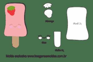 Molde Doces -Picolé Morango - Molde para EVA - Feltro e Artesanato
