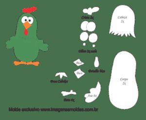 Molde Galinha Pintadinha - Galinha Cantora - Moldes de EVA - Feltro Artesanato