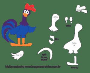 Molde Galinha Pintadinha - Galo Carijó - Moldes de EVA - Feltro e Artesanato