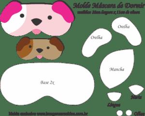 Molde Máscara de Dormir Cachorros - Molde para EVA - Feltro e Artesanato