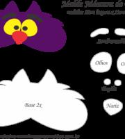Molde Máscara de Dormir Gato Alice País Maravilhas - Molde EVA e Feltro