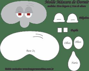 Molde Máscara de Dormir Lua Molusco Bob Esponja - Molde para EVA e Feltro
