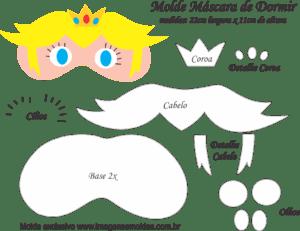 Molde Máscara de Dormir Peach Mario - Molde EVA - Feltro