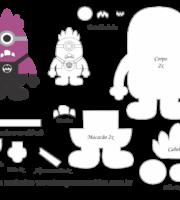 Molde Minions - Roxo - Moldes de EVA - Feltro e Artesanato