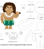 Molde Moana - Maui - Molde para EVA - Feltro e Artesanato