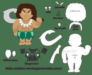 Molde Moama - Maui - Molde para EVA - Feltro e Artesanato
