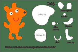Molde Peppa Pig - Teddy - Molde para EVA - Feltro e Artesanato