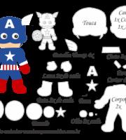 Molde Personagem - Capitão América - Molde para EVA - Feltro e Artesanato
