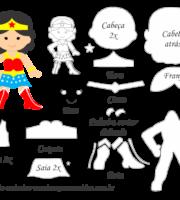 Molde Personagem - Mulher Maravilha - Molde para EVA - Feltro e Artesanato