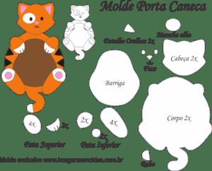 Molde Porta Caneca Gato Laranja - Molde para EVA - Feltro e Artesanato