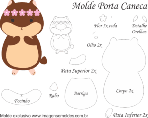 Molde Porta Caneca Hamster - Molde para EVA - Feltro e Artesanato