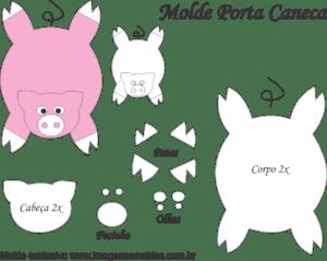 Molde Porta Caneca Porquinho - Molde para EVA - Feltro e Artesanato
