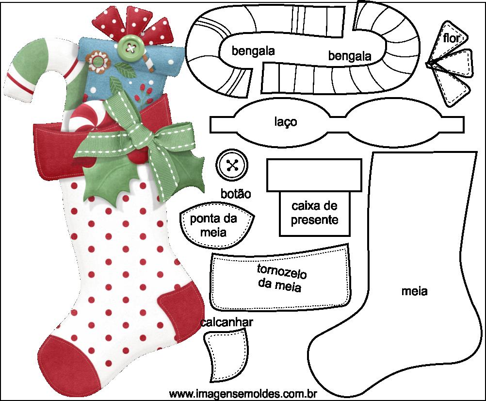 Fabuloso Molde de Natal para Feltro - EVA e Artesanato 48 BW47