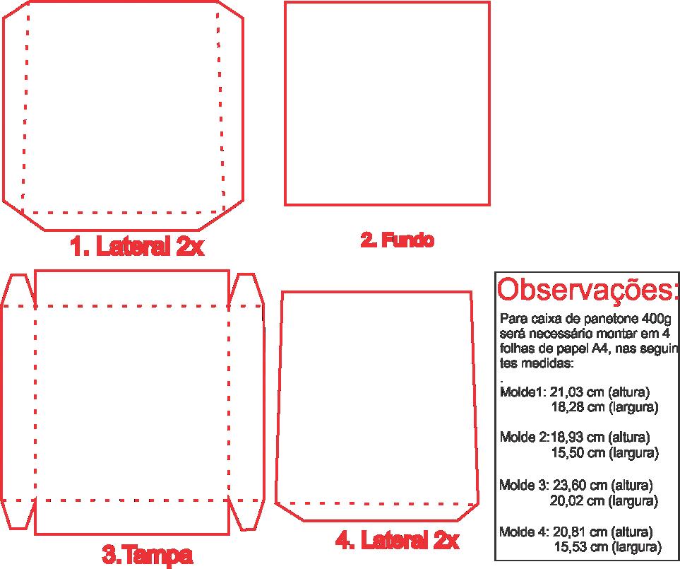 Molde de Caixa Panetone para EVA - Feltro e Artesanatos