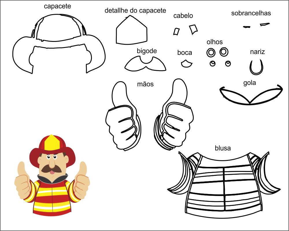 molde bombeiro para eva-feltro e artesanato 2