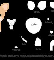 Molde Animais - Cachorro bege Scrap - Moldes de EVA - Feltro e Artesanato