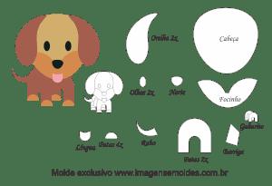 Molde Animais - Salsicha Scrap - Moldes de EVA - Feltro e Artesanato